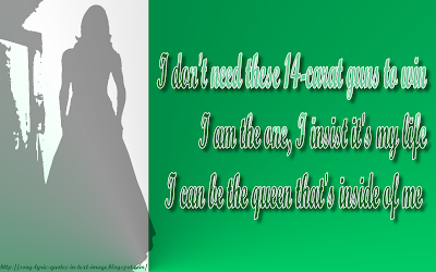 The Queen - Lady Gaga Song Lyric Quote in Text Image