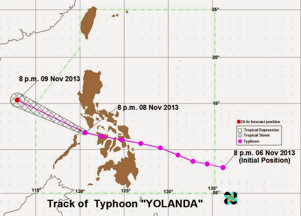 at 10 00 pm today the eye of typhoon yolanda