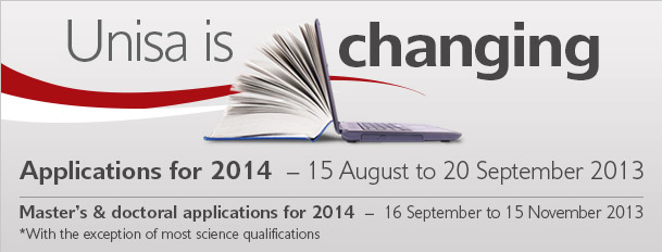 UNISA Degree, Master's and Doctoral Application For 2014 Open
