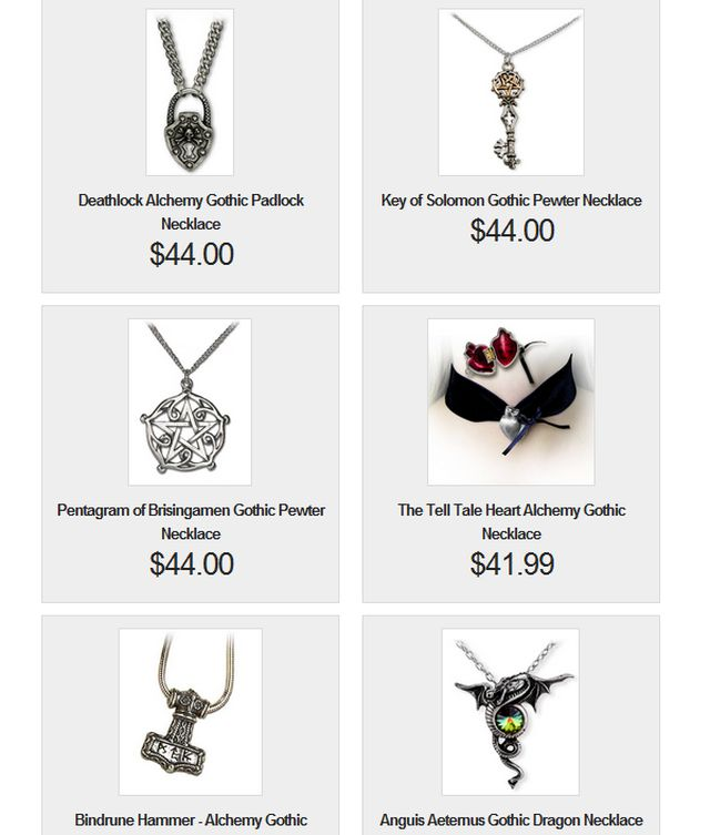 Designer Gothic Jewelry & Accessories