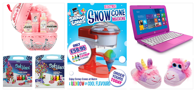 A collage of the top 5 christma gifts for 11 year old girls including a hp stream laptop, snowycone machine, soap and glory, doh vinci and stompeez