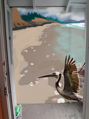 Pelican Mural, Beach Mural Design, Yachats Mural, Oregon Coast Mural