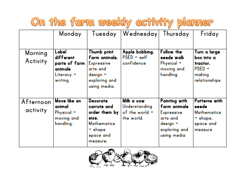 Farm Week Preschool Activities
