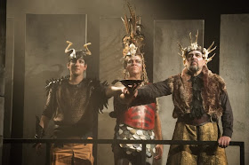 Nicholas Sharratt, Grant Doyle and Roderick Earle as Paris, Hector and Priam in Tippett's King Priam - ETO - © Richard Hubert Smith, www.richardhs.com