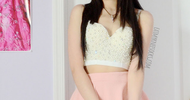 SheIn's beaded bustier top is perfect for the summer, and goes great with a simple pastel skirt.