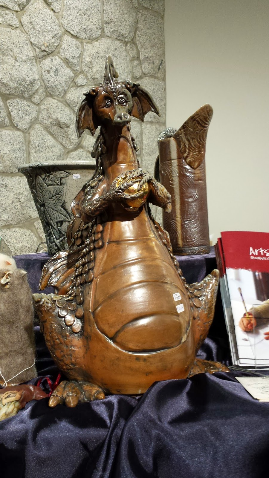 Beautiful enormous dragon ceramic wood-fired pottery by Sharon Reay