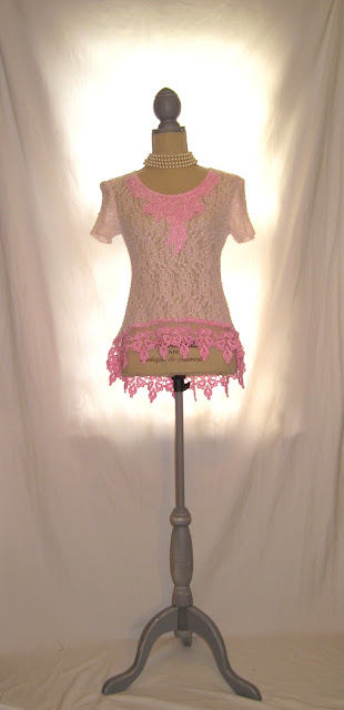 Hand-Dyed Pink Lace Romantic 80s Top, Shabby Blush  Lady's Blouse