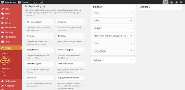 Wordpress: Wygląd → Widgety