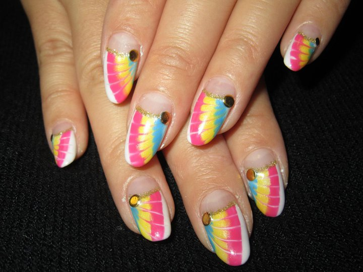 Cute nail designs neon peacock gel nails prinsesfo Images
