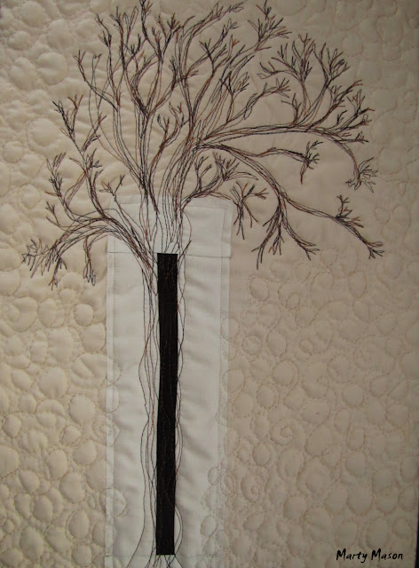 Thread Sketched Winter Tree Quilted Wall Hanging