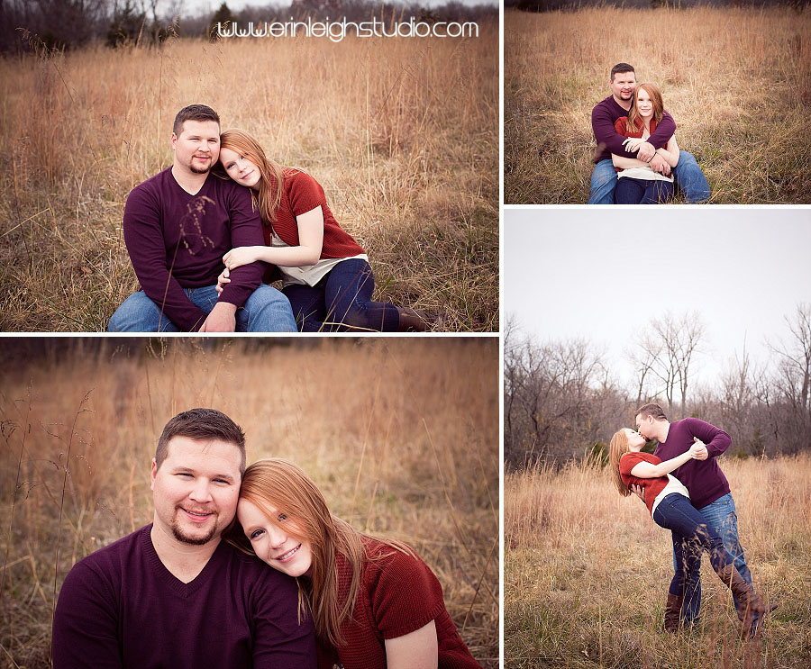 engaged couple in a field for fall engagement session in kansas city