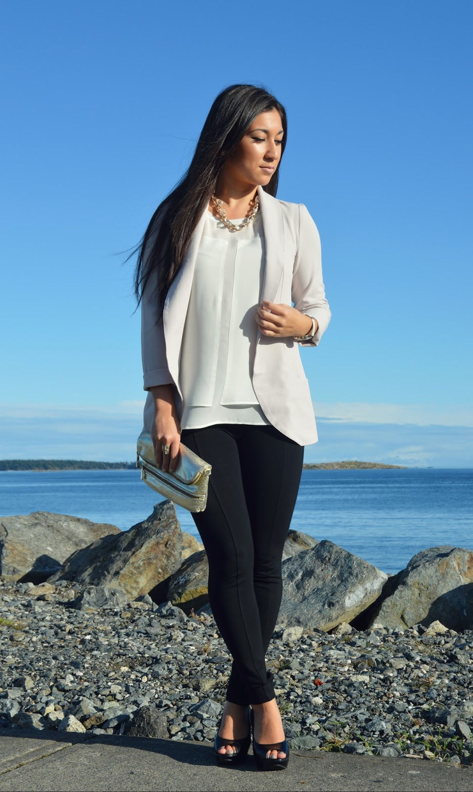 dynamite clothing wearing woven overpiece, sheer blouse and mid rise leggings
