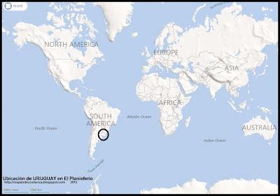 Ubicación de URUGUAY en El Planisferio, BING