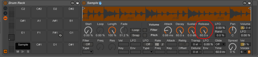 how to ghave the snare cut the kick ableton