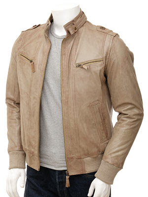 Men's Taupe Leather Jacket: Halle
