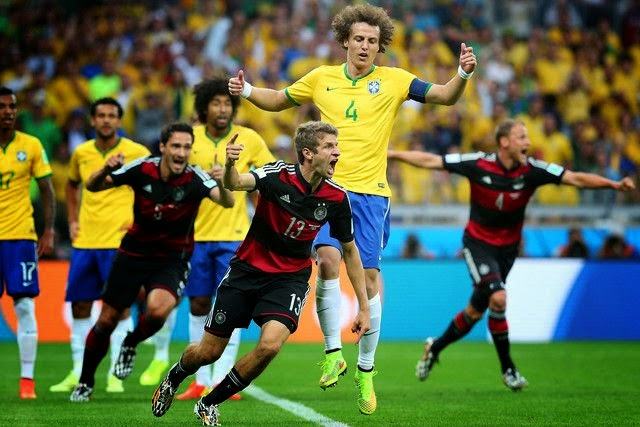 Thomas Müller, Miroslav Klose, Toni Kroos, Sami Khedira, and André Schürrle ensure Joachim Löw the perfect Estádio Mineirão in Belo Horizonte sign in. With a Seven golden goals as The Germany team crush Brazil 7 - 1 on Tuesday, July 8, 2014.