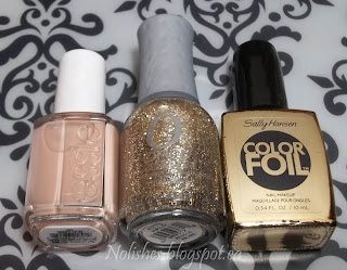 Essie 'Brides to Be', Orly 'Halo', and Sally Hansen Color Foil 'Liquid Gold'