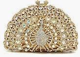 Kate Landry peacock clutch, Kate Landry rhinestone metal clutch, holiday gold and rhinestone purse handbag