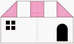Bước 8: Vẽ cửa đi, cửa sổ để hoàn thành cách xếp cửa hàng bằng giấy origami đơn giản.
