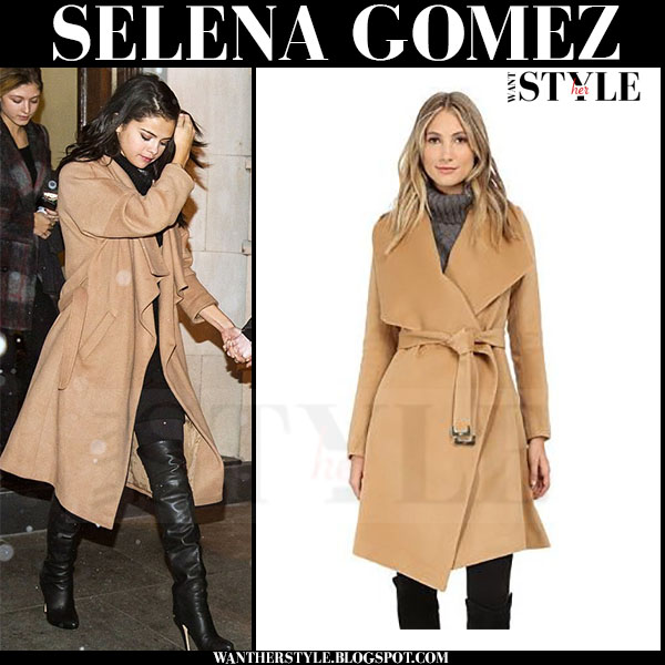Selena Gomez in camel diane von furstenber harlow coat and black over the knee boots jimmy choo giselle what she wore