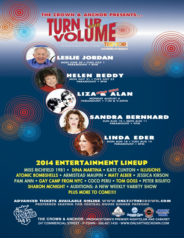 Provincetown   Crown and Anchor Shows 2014   Leslie Jordan Helen Reddy Sandra Bernhard Linda Eder