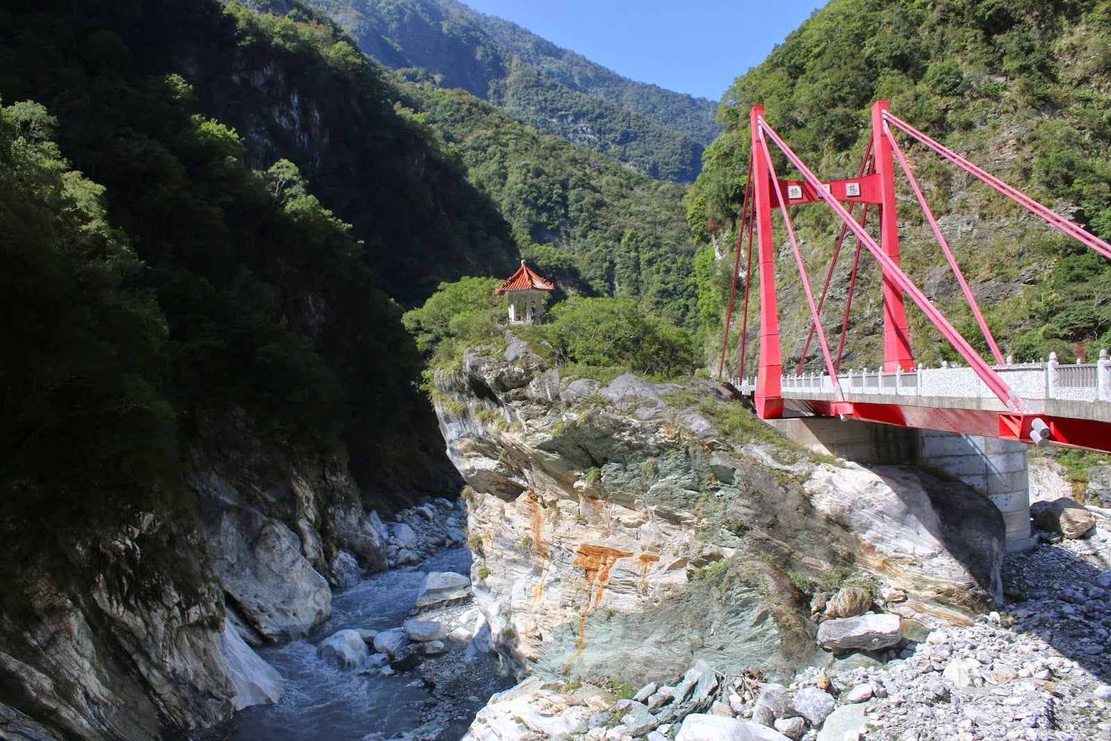 A pavilion was built on this frog rock to resemble a crown on the frog's head at Cimu Bridge at Taroko Gorge National Park in Hualien, Taiwan