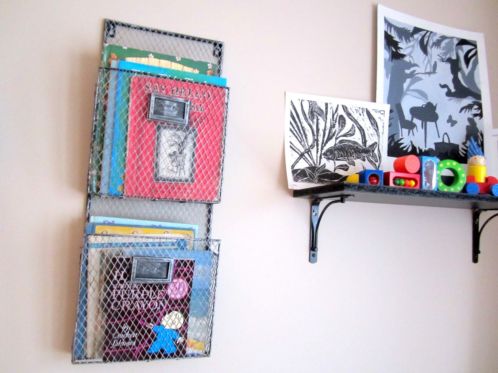 homemade and colorful baby book holder