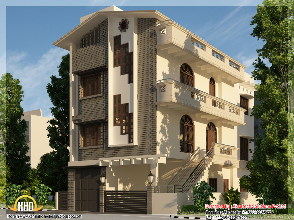 Beautiful contemporary home designs kerala home design for 3 storey building front elevation