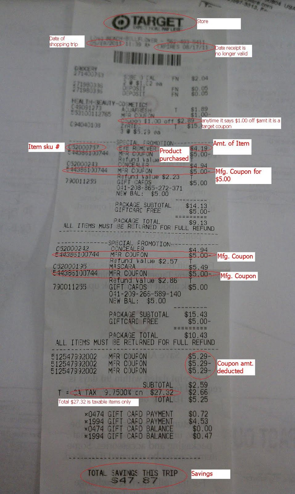 addicted 2 savings 4 u dissection of a target receipt