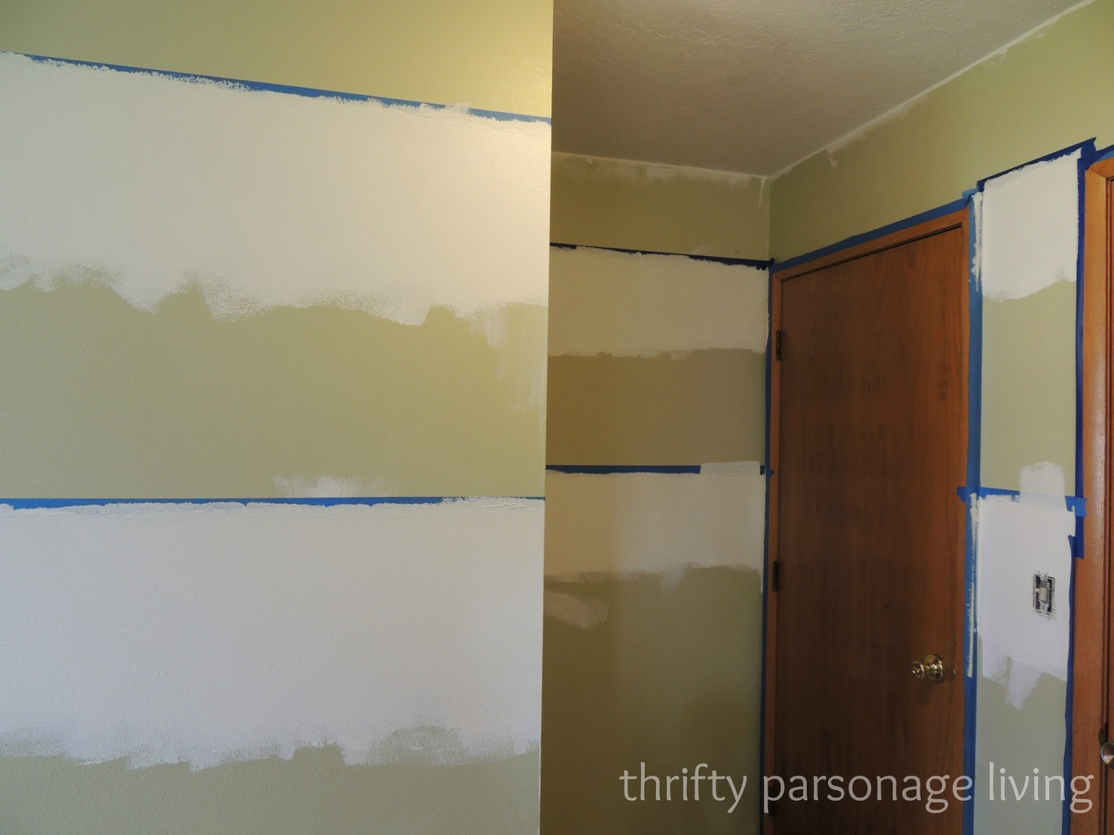 Thrifty parsonage living painting horizontal stripes on for Painting stripes on walls