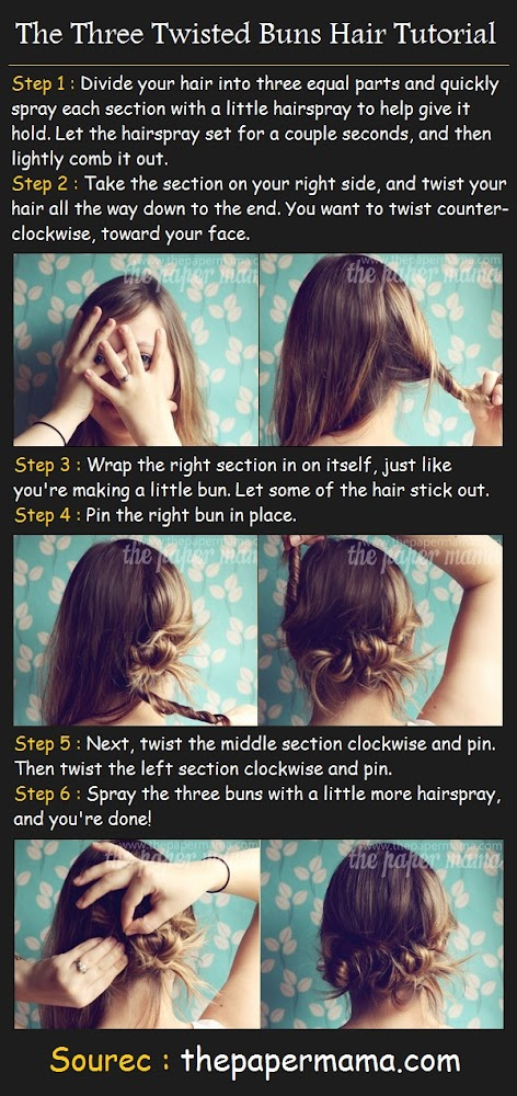 the three twisted buns hair tutorial how to style step 1 divide your