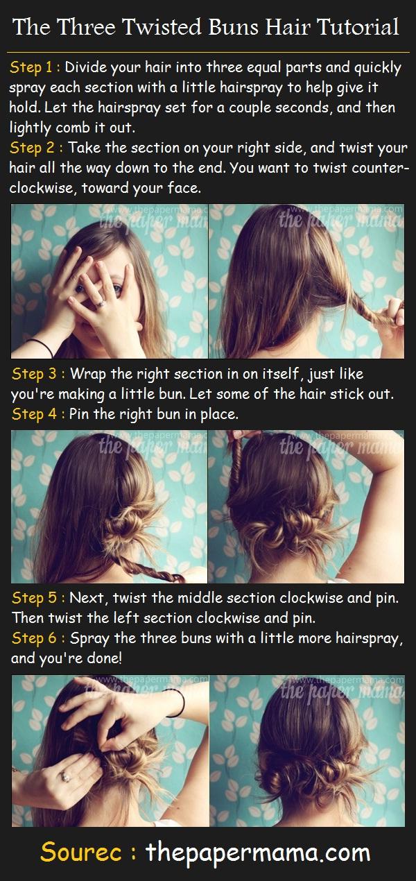 The Three Twisted Buns Hair Tutorial Pinterest Tutorials