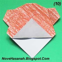 cara melipat kertas origami untuk membuat origami wajah beruang. Origami wajah beruang ini sangat cocok untuk diajarkan untuk anak-anak yang duduk di kelas rendah (1, 2, dan 3) SD. 5