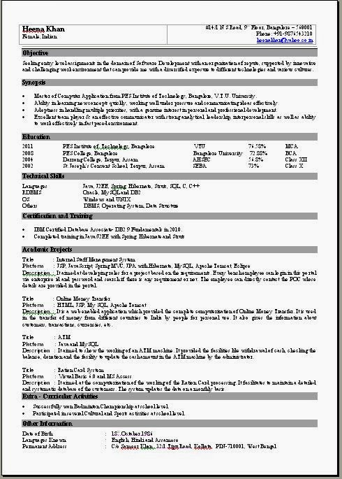 Resume Templates – Single Page Resume Format Download