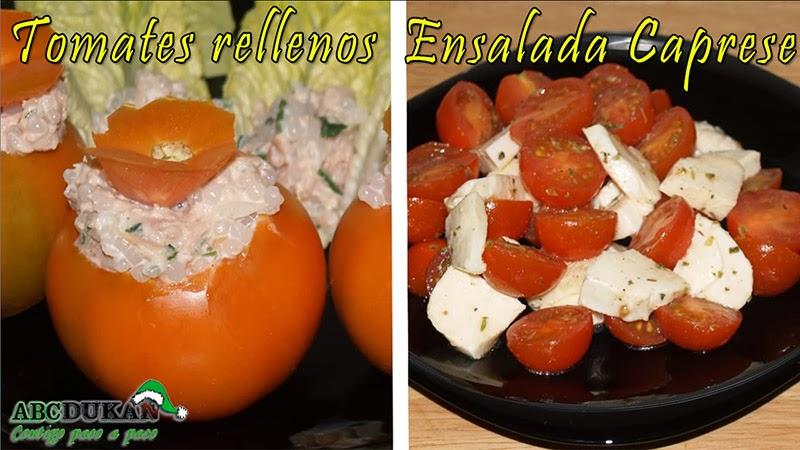 ensalada caprese y tomates rellenos