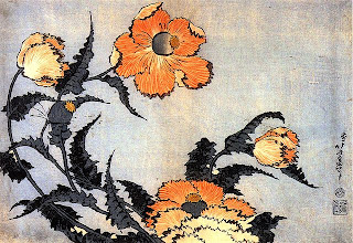 Japanese painting, Hokusai, poppies