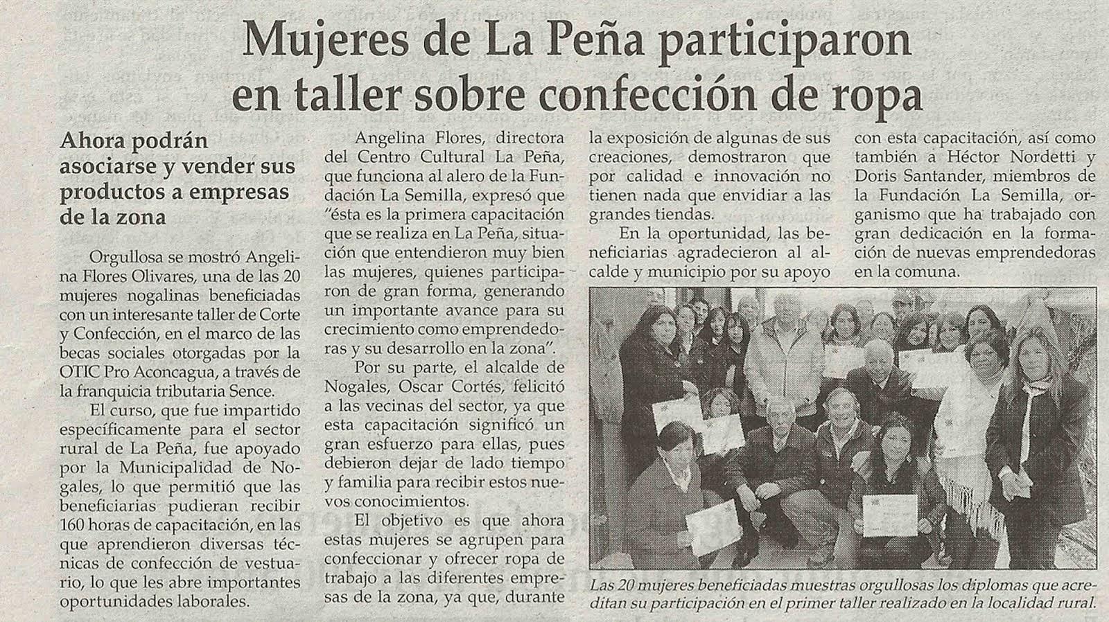 Certificación Mujeres La Peña Sence