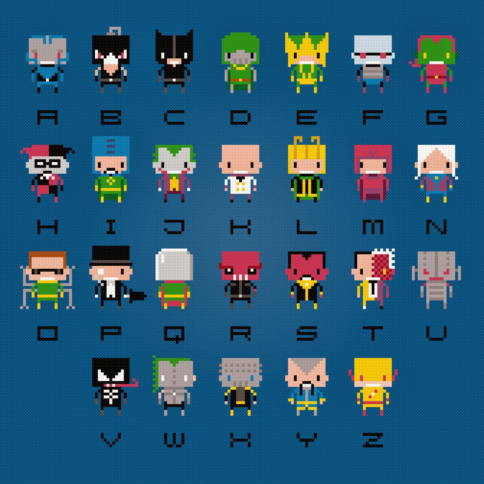 Supervillain Alphabet 2 - Cross Stitch PDF Pattern Download