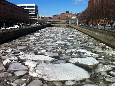 Kendsuskeag Stream spring breakup and iceout, downtown Bangor, Maine - photo by Michael Alden