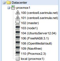 Menu storage Proxmox