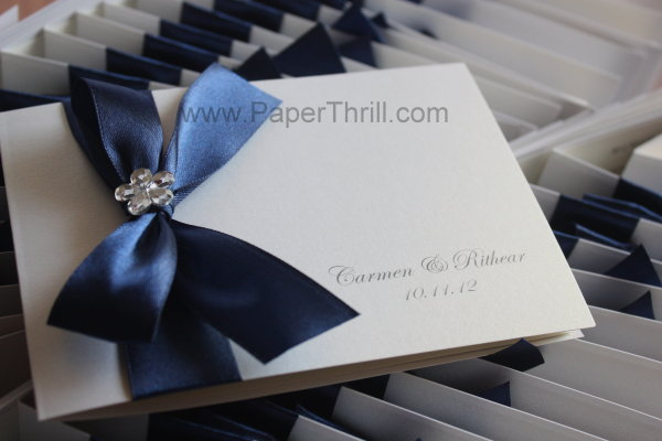 Royal blue floral wedding invitation card