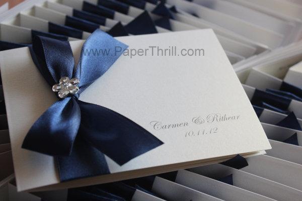 Royal blue floral wedding invitation card