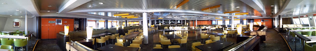 Panorama of empty bar on cross channel ferry