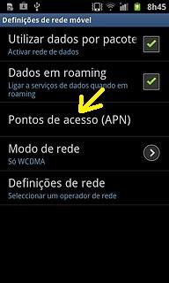 Ponto de acesso APN Samsung Galaxy S II