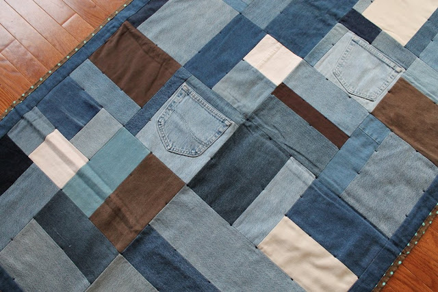 small throw quilt upcycled denim chocolate brown