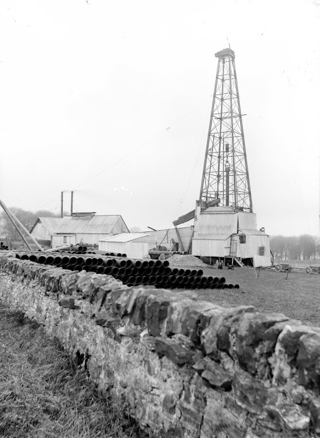 Exploratory oil drilling. D'Arcy, 4.0 km. south-east of Dalkeith and 1.6 km. south-south-west of the mining village of Chesterhill. Site of borehole, 1919-1922.