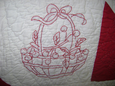 red white quilt redwork