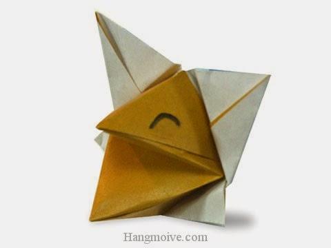 Cách gấp, xếp con cáo nói chuyện bằng giấy origami - Video hướng dẫn xếp hình - How to make a Talkative fox