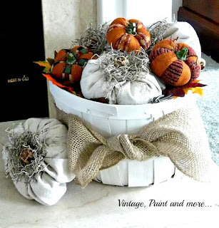 Vintage, Paint and more... DIY drop cloth pumpkins in a vintage painted basket