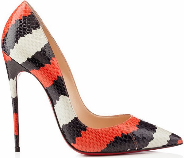 Christian Louboutin So Kate Striped Watersnake Pumps